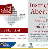 Inscrições abertas para a etapa municipal do Mapa Cultural Paulista, em Santana de Parnaíba, leia mais!!!