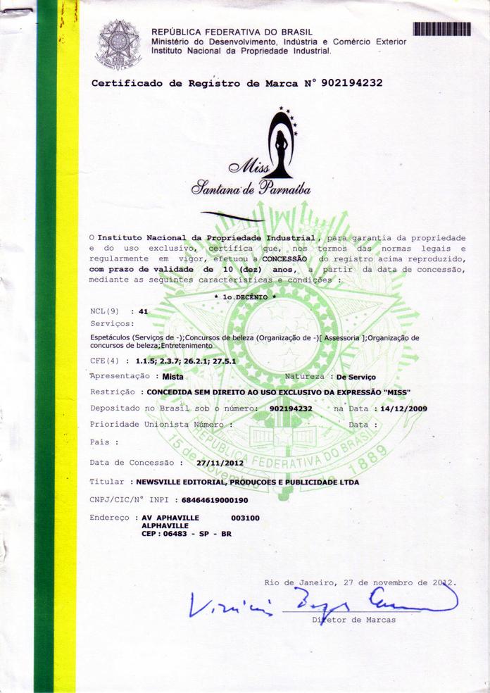 INPI.Certificado Miss Santana Parnai (1)