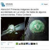 Tragédia com avião da delegação da Chapecoense, que caiu nesta madrugada rumando à Medellín na Colômbia