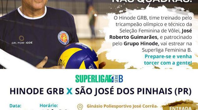 Super Liga Série B – Voleibol Hinode Barueri, no dia 24 – Ginásio José Corrêa – Entrada Franca