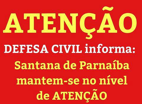 Prefeitura de Santana de Parnaíba comunica ESTADO DE ATENÇÃO pelas chuvas