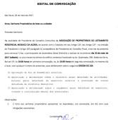 Edital de Convocação: Assembleia Geral Ordinária – Associação de Proprietários do Loteamento Residencial Mosaico da Aldeia, Santana de Parnaíba/SP
