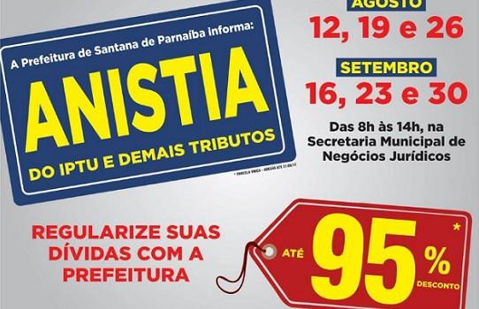 Santana de Parnaíba: Anistia do IPTU e demais tributos – locais de agendamento