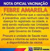 NOTA OFICIAL VACINAÇÃO FEBRE AMARELA – Prefeitura de Santana de Parnaíba