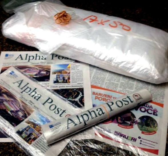 embalagem dos jornais Alpha Post