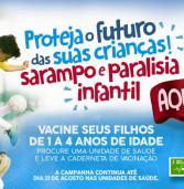 ATENÇÃO: Hoje, 31 de agosto, último dia da vacinação contra o sarampo e a paralisia infantil.Vacine suas crianças de 1 a 4 anos.
