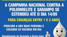 Vacinação até 14/09 – Poliomielite e Sarampo – Santana de Parnaíba
