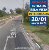 Estrada Bela Vista, em Alphaville, no trecho entre o Burle Marx e os Residenciais 11 e 12,  estará TOTALMENTE INTERDITADA para a substituição da tubulação sob o pavimento da via