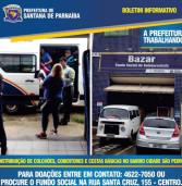 Recolhimento de doações para vítimas das chuvas do dia 1, em Santana de Parnaíba