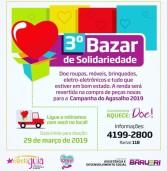 """III Bazar de Solidariedade """"Estrela Guia"""" de Barueri, arrecada doaçãos até 29/03. Realização em 06/04"""
