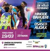 Hoje, Vôlei no Ginásio José Correia – Hinode Barueri X Osasco Audax – 19hs – entrada gratuita