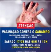 Santana de Parnaíba vacina contra sarampo até sábado. Veja o banner!