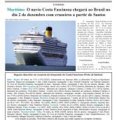 Turismo – Costa Fascinosa chega ao Brasil em 02/12. Conheça a sua temporada!