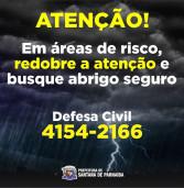 A Defesa Civil de Santana de Parnaíba informa: ao identificar qualquer anormalidade ligue 199 ou 4154-2166