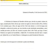 Nota Oficial da Prefeitura de Santana de Parnaíba: interdição temporária da ponte