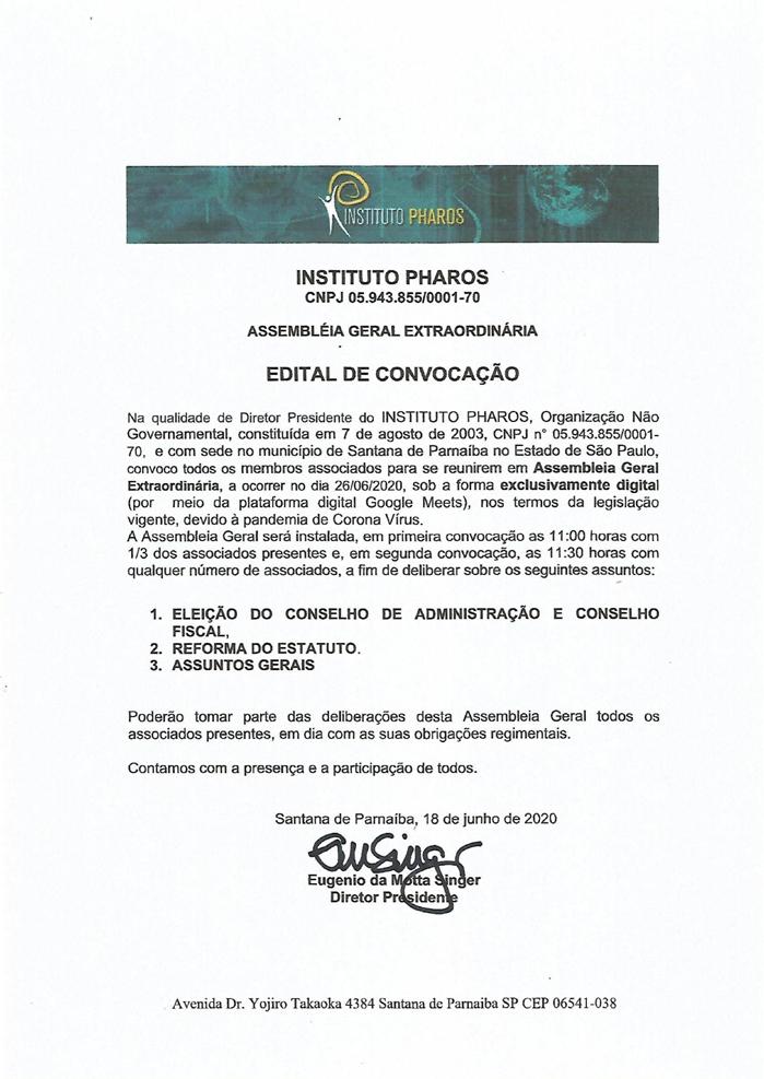 INSTITUTO PHAROS_EDITAL CONVOCAÇÃO AGE 2020