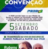 Amanhã, acontece a Convenção do PSDB em Barueri na Câmara Municipal de Barueri, com votação online