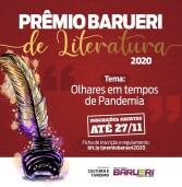 Vão até 27/11, as inscrições ao Prêmio Barueri de Literatura