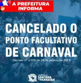 Santana de Parnaíba: não haverá ponto facultativo nas repartições públicas municipais nos dias 15 e 16 de fevereiro, relativos ao Carnaval, e no dia 17 de fevereiro, referente à quarta-feira de cinzas