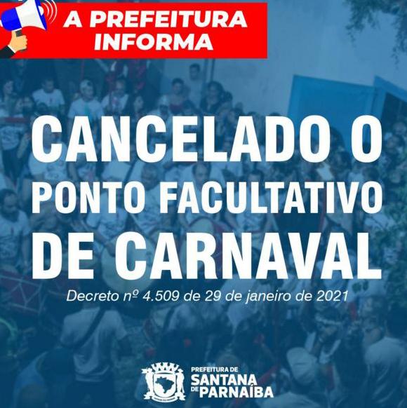 cancelado ponto facultativo carnaval