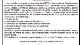 Edital de Convocação de Assembléia Geral Ordinária da ACMMESP – Associação de Coordenadores Municipais de Misses do EStado de São Paulo